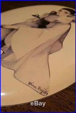 Vintage Mira Fujita Mysterious & Beautiful Ivory Wall Plaque Art Inlay VERY RARE
