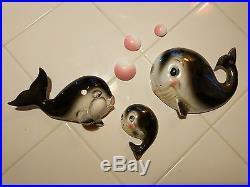 Vintage NORCREST BRADLEY Whale Wall Plaques Hangings for Mermaid Fish Bath Decor