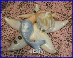 Vintage NORCREST Japan Mermaid Blue Merboy on Starfish Wall Plaque Hanging MINT
