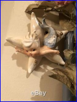 Vintage NORCREST Japan Mermaid Blue Merboy on Starfish Wall Plaque Hanging MINT