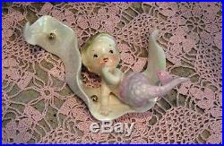 Vintage NORCREST Japan Mermaid Pink Tail SEAWEED Wall Plaque Hanging MINT P-772