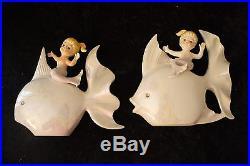 Vintage NORCREST Mermaid on White Iridescent Fish Set- Porcelain Wall Plaques