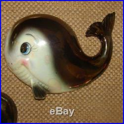 Vintage NORCREST Whale Wall Plaques Hangings for Mermaid & Fish Bath Decor