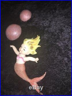 Vintage Napco Ceramic With2 Large Bubbles Mermaid Wall Plaque Figurines