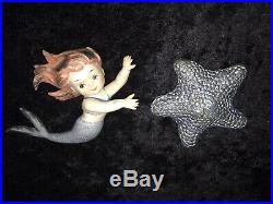 Vintage Napco/ Norcrest Ceramic Mermaid And Star Fish Wall Plaque Figurines
