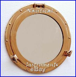 Vintage Nautical Ship Boat Window Wall Mirror Solid Brass Porthole 15 Maritime