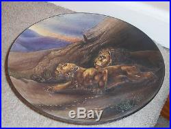 Vintage Nippon Wall Plaque. Plate, Raised Molded In Relief, Lion, Lioness Scene