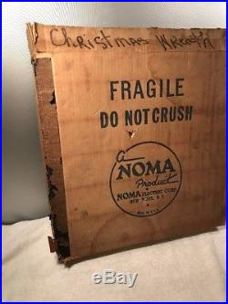 Vintage Noma Lighted Merry Christmas Candle Wreath Wall Plaque Decor In Box