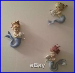 Vintage Norcrest 3 Mermaids with Fish Wall Plaque Set