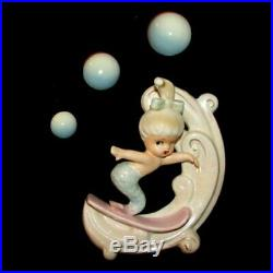 Vintage Norcrest Blue Tail Surfing Mermaid Wall Plaque for Fish Bath Decor