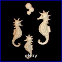 Vintage Norcrest Ceramic 3 Seahorse Family Wall Plaque Hanging Set for Mermaids