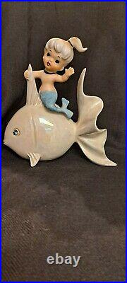 Vintage Norcrest Ceramic Mermaid on Iridescent Fish, Wall Plaque, Figurine