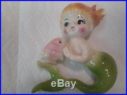 Vintage Norcrest Ceramic Mermaid with Fish Wall plaque figurines