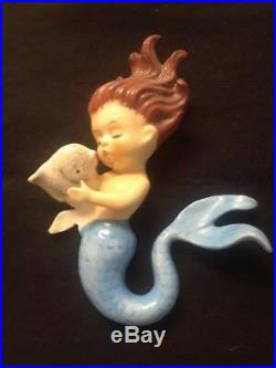 Vintage Norcrest Ceramic Mermaids Holding Fish Wall plaque figurines