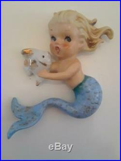 Vintage Norcrest Ceramic Mermaids Holding Fish Wall plaque figurines