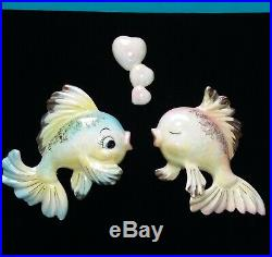 Vintage Norcrest Ceramic Wall Plaques Pink & Blue Kissing Fish and Heart Bubbles