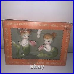 Vintage Norcrest Mermaid Bubbles Wall Plaque Ceramic Japan In Box Make Offer