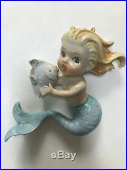 Vintage Norcrest Mermaid Fish SET Wall Plaque Bathroom PAIR Blue 1950