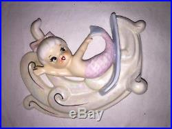 Vintage Norcrest Mermaid Pair Pink Blue P826 Japan Riding The Waves Wall Plaque