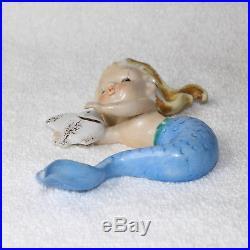 Vintage Norcrest Mermaid Wall Plaque Bathroom Blonde Hair Blue Tailfin 1950s MCM