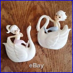 Vintage Norcrest Mermaid Wall Plaque Swan Fish Ceramic Boy and Girl Retro