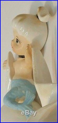 Vintage Norcrest Mermaid on Fish Blue Tail Iridescent Wall Art Decor Plaque P697
