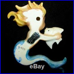 Vintage Norcrest Mermaid with Fish Wall Plaque Hanging for Bath Decor
