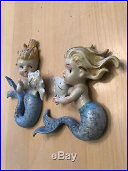 Vintage Norcrest Mermaid with Fish Wall Plaque Hanging for Bath Decor/no chips