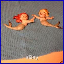 Vintage Norcrest Mermaids Ceramic Wall Hanging Plaques 50s Nautical Retro P-360
