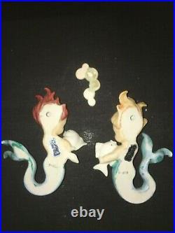 Vintage Norcrest Mermaids W Bubbles Fish Wall Plaque Pocket Ceramic Girls Lady