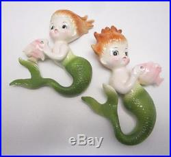 Vintage Norcrest Mermaids With Fish 1950s Ceramic Wall Plaques Colorful-NICE