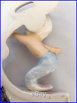 Vintage Norcrest Surfing Mermaid Blue Tail P826 Japan Riding Waves Wall Plaque
