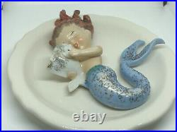 Vintage Norcrest set of 3 Ceramic Mermaids Holding Fish Wall plaque figurines