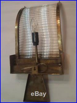 Vintage Old Art Deco Skyscraper Brass & Glass Rod Ship Light Wall Sconces Lamp