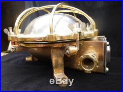 Vintage Old Brass And Bronze Round Ships Bulkhead Wall, Ceiling Light