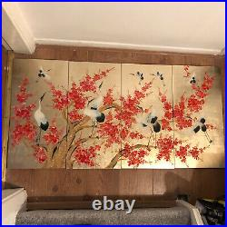 Vintage Oriental Asian Decorative Lacquered Wall Panel Art Gold Lead Cranes