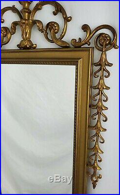 Vintage Ornate Brass Framed Wall Mirror Louis XV Neo-Classical 59 x 18
