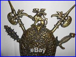 Vintage Ornate Metal Brass Shields Weapons, Coat Of Arms, Crest, Wall Plaque