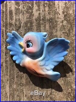 Vintage PY JAPAN BlueBird Ceramic Wall Plaques Similar To Norcrest & Lefton