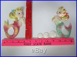 Vintage PY Mermaids with Bubbles Wall Plaque