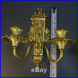Vintage Pair 2 Ornate Cast Brass Double Arm Candle Wall Sconce