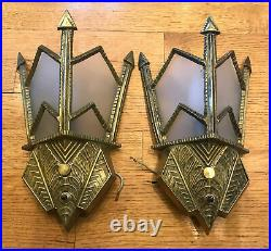 Vintage Pair Art Deco Wall Scones Antique Brass Finish with Glass Shades