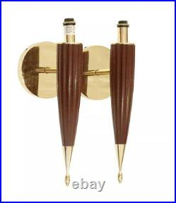 Vintage Pair Brass & Wood MID Century Wall Sconce Lights Lamps
