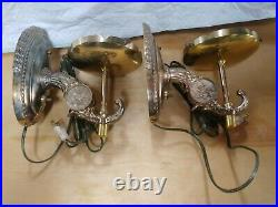 Vintage Pair Budweiser Beer Brass Wall Globe Sconce Lamp Light. Great condition