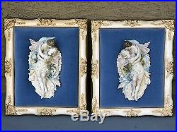 Vintage Pair Capodimonte Lovers Figural Porcelain Bisque Figurine Wall Plaques