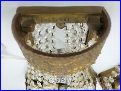 Vintage Pair French Empire Crystal Chain Brass Wall Sconce Lights Portugal 16