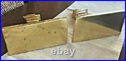Vintage Pair Hollywood Regency Solid Brass Wall Bracket Shelf Sconce Heavy