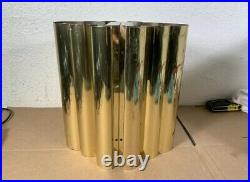 Vintage Pair MCM polished brass Gold wall sconce Sconces Double Light Lamp