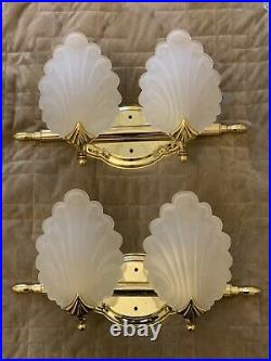 Vintage Pair Murano Frosted Glass Shell Form Wall Sconces Brass Art Deco Nouvea