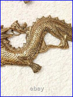 Vintage Pair Of 2 Brass Lucky Chinese Dragon Hanging Wall Plates